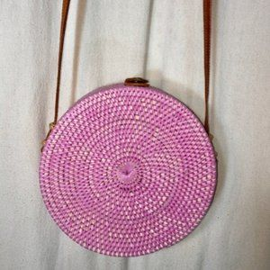 Handbags - ATA Pink Rattan Round Cross Body Bag